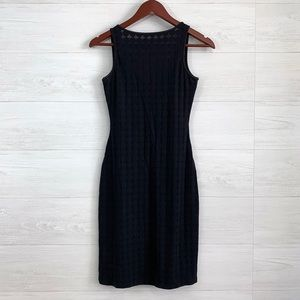 Bebe Moda Mesh Knit Bodycon High Neck Dress